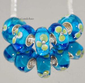 5pcs-MURANO-Lampwork-charm-Beads-fit-925-silver-European-Bracelet-Chain-a213