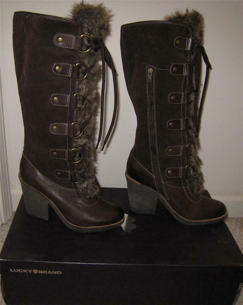 NEW Lucky Brand LK-Eve Womens Boots Heel Suede Leather Faux Fur  9M 39 NIB