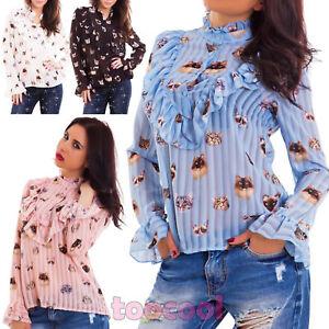 quality design 25955 c6e35 Dettagli su Camicia donna velata righe gatti ruches maglia maniche lunghe  sexy nuova AS-2458