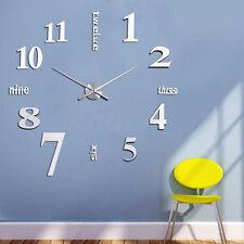 Silber Design Wand Wohnzimmer Wanduhr Wanduhren Wandtattoo Deko XXL 3D L2s