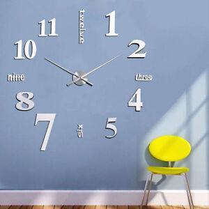 design 3d wand uhr wohnzimmer wanduhr spiegel wandtattoo deko xxl, Wohnzimmer