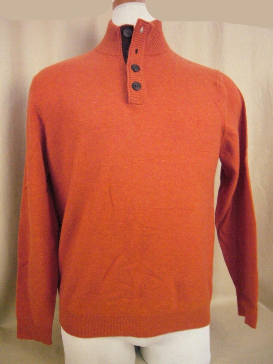 Ethan Pierce Men's Cashmere Size M Sweater orange Henley Style