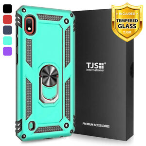 For-Samsung-Galaxy-A10e-Phone-Case-TJS-DuoGuard-Ring-Holder-Tempered-Glass