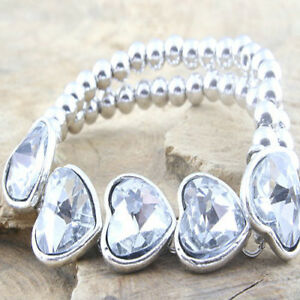 Double Row Bead Bracelet with five Heart shape stones Special Offer - Craigavon, United Kingdom - Double Row Bead Bracelet with five Heart shape stones Special Offer - Craigavon, United Kingdom