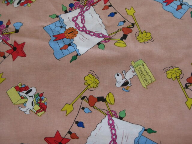 Peanuts Snoopy Christmas Decorating Doghouse Fabric 15 Inches x 43 Inches