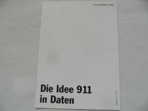 PROSPEKT brochure PORSCHE Die Idee 911 in Daten 1.8.1995 SR419