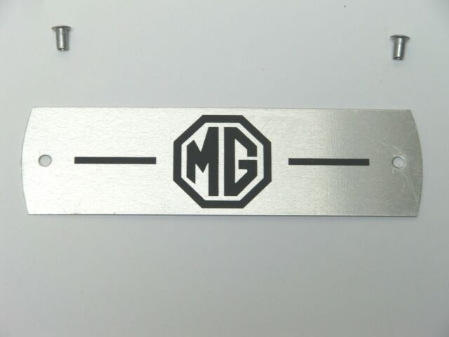 Classic MG MGB Midget MGC Rocker Cover Alloy MG Plate Plaque with rivets BLACK