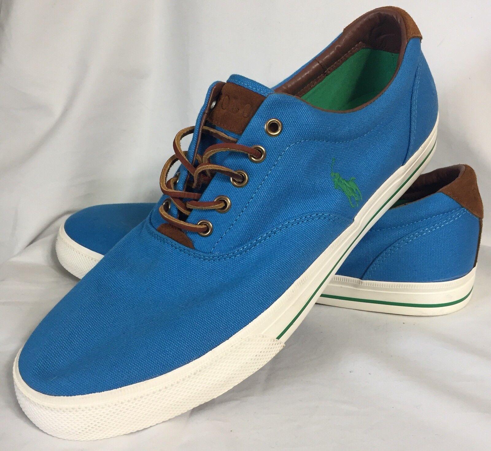 Polo Ralph Lauren Vaughn Fashion Sneakers Size 14 D bluee Canvas Leather Trim