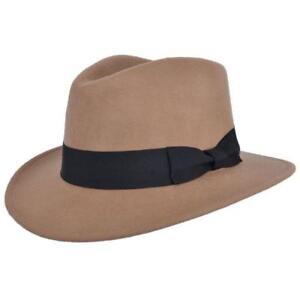 Indiana Jones Style 100/% Wool Felt Fedora Brown Hat Crushable Water Repellent