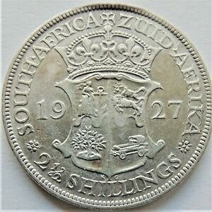 1927-SOUTH-AFRICA-George-V-silver-2-1-2-Shillings-grading-Abt-VF-VERY-FINE