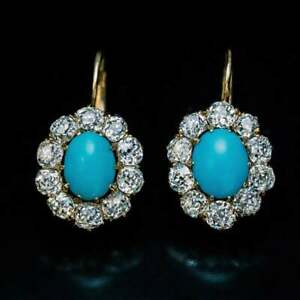 Antique-Turquoise-amp-Diamonds-2-80Ct-14k-Yellow-Gold-Over-Drop-Dangle-Earrings