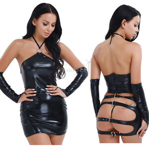 Woman in leather fetish attire