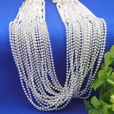 1pc Stylish Silver Ball Beads Chain Necklace 16-28inch For Jewelry Diy