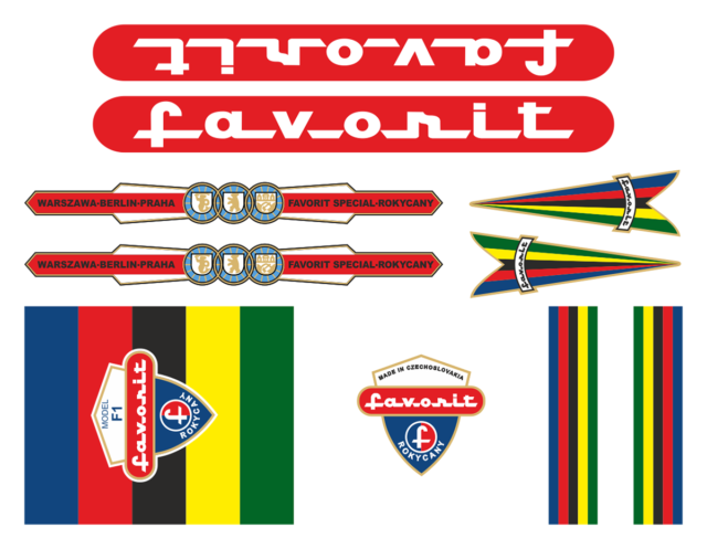 Czechoslovakia Retro Bicycle Favorit 1965 Decals Stickers Set Aufkleber Adesivi