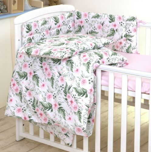 +50 DESIGNS 3 or 5 pcs BABY BEDDING SET fit Cot 120x60cm or Cot Bed 140x70