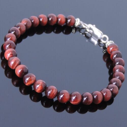Men Women Gemstone Bracelet 6mm Red Tiger Eye 925 Sterling Silver DIY-KAREN 389