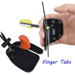 1X Finger Tabs BK Leather Protective Guard for Archery Recurve Bow Right Handed