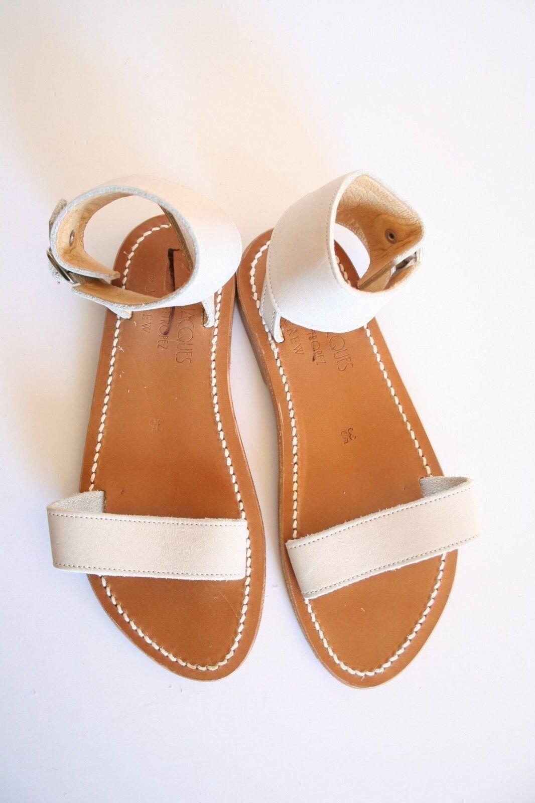 K.  Jacques per J.Crew Saratoga Leather Sandals 35 4.5 -5 Cream Ankle Cuff Strap  risparmia fino al 70%