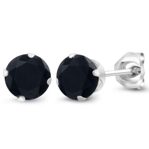 0.92 CT rond 5 mm Noir Onyx 925 Argent Sterling Boucles D/'oreilles Clou