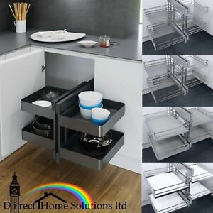 Details About Vauth Sagel Cor Flex Kitchen Cabinet Pull Out Corner Unit Complete Set Baskets