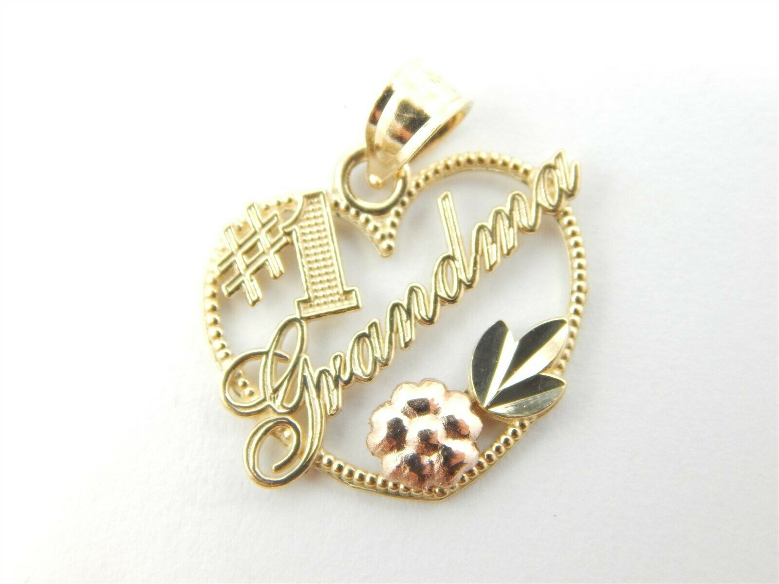 14K YELLOW gold TWO TONE NUMBER ONE GRANDMA HEART PENDANT DIME SIZE