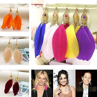 Fashion Womens Jewelry Handmade Earrings Goose Feather Dangle Eardrop Hook BD2U