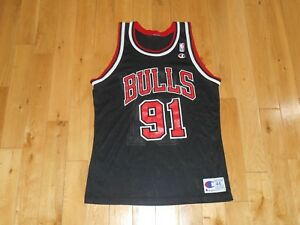 newest 3c296 11c44 Details about Vintage 1996 Champion DENNIS RODMAN Black CHICAGO BULLS Mens  NBA Team JERSEY 44