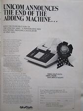 1972 PUB UNICOM 1000P ELECTRONIC PRINTING CALCULATOR ORIGINAL AD
