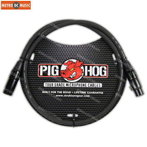 5-Pack Pig Hog 3ft Microphone Cable XLR Lifetime 8mm Tour Grade PHM3 Black