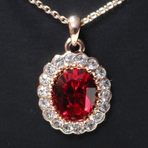Sparkling 3 Ct Oval Red Ruby Halo Pendant Necklace Women Wedding Engagement Gift