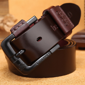 Luxury-Men-Belt-Genuine-Leather-Belt-Pin-Buckle-Casual-Jeans-Fashion-Men-039-s-Belt