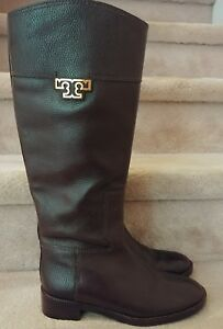 dc1e0a06d21 Tory Burch Joanna Tall Brown Pebbled Leather Gold Logo Riding Boots ...