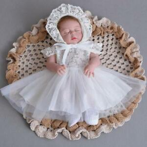 3157a893a9950 Image is loading Adorable-Newborn-Lace-Baptism-Dress-Elegant-Baby-Girl-