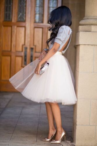 Women/'s Tutu Tulle A line Skirts Short Prom Party Knee Length Petticoat Dress