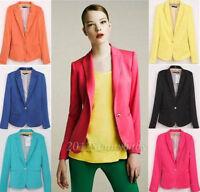 Fashion Women's Candy Color Slim Fit One Button Suit Blazer Coat Jacket Tops