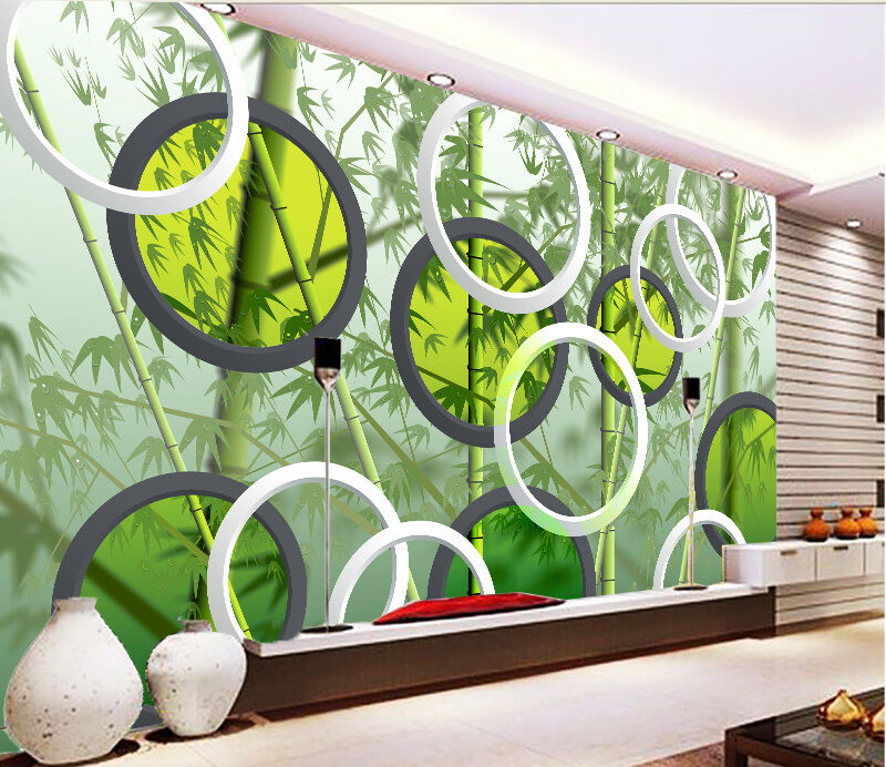 3D Bamboo Forest Circle Paper Wall Print Decal Wall Wall Murals AJ WALLPAPER GB