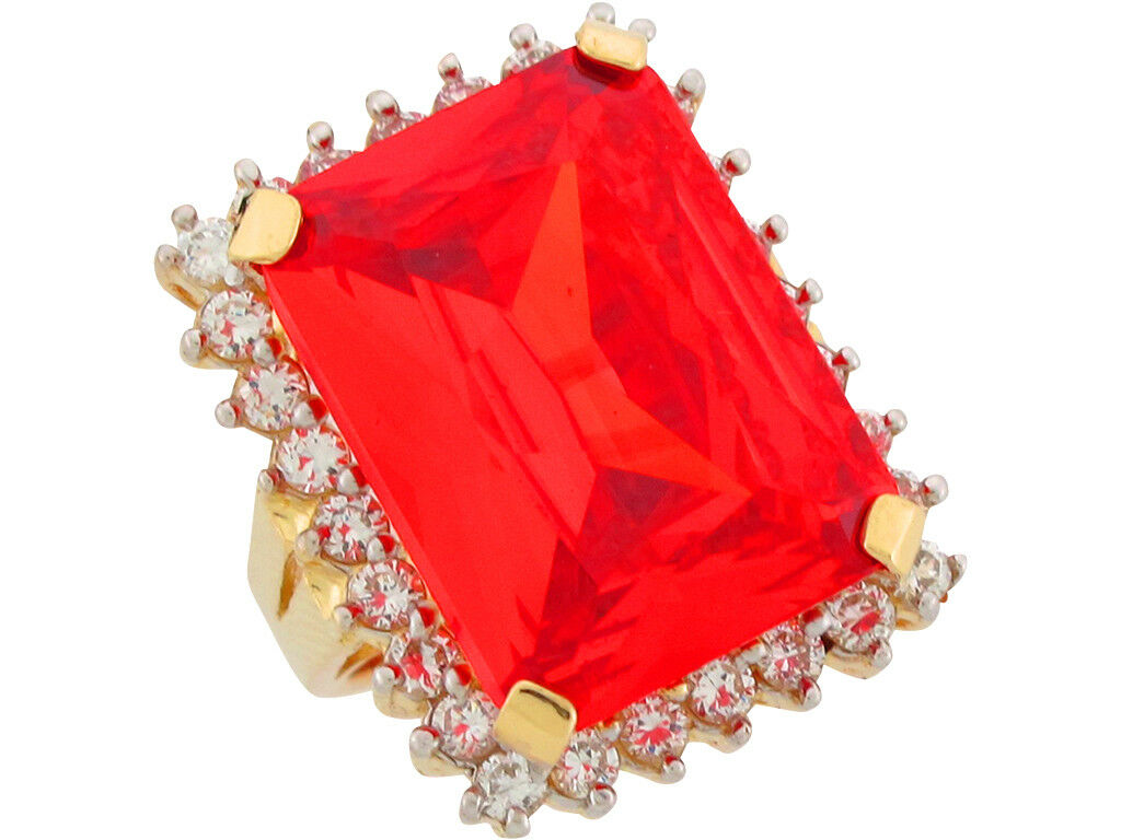 10k or 14k Yellow gold Simulated Fire Topaz White CZ Regal Ladies Rectangle Ring