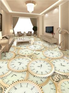 3D Papel de Parojo de Reloj Diente de Sierra piso 743 Impresión De Parojo Murales AJ Wallpaper Reino Unido Limón