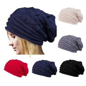 4eb58a4cc83 Unisex Men Women Knitted Floppy Slouch Beanie Hat Chunky Outdoor ...