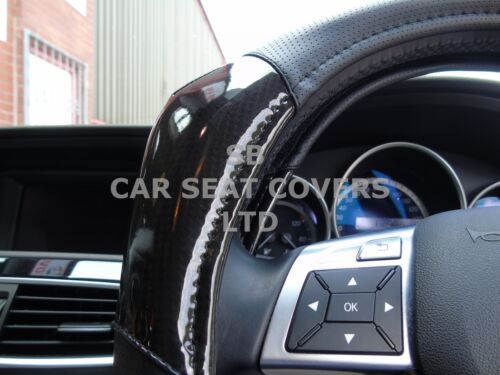 TO FIT A VOLKSWAGEN UP CARBON FIBER LOOK R1 BLACK i STEERING WHEEL COVER