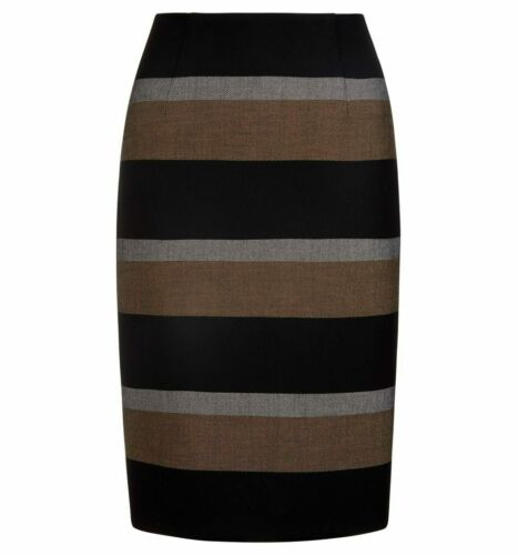 Ex Hobbs Black Multi Nora Stripe Skirt Size 12 SF