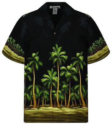 KY/'s Original Hawaiihemd Blauschwarzer Palmenwald