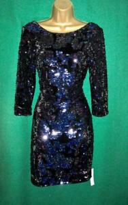 New-MONSOON-Uk-8-16-SAMANTHA-Dark-Blue-Sequin-Velvet-Party-Evening-Shift-Dress