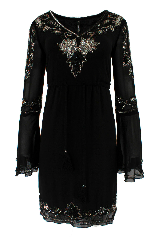 Embellished Beaded Sequin Embroidered Shift Mini Evening Gatsby Dress Myla