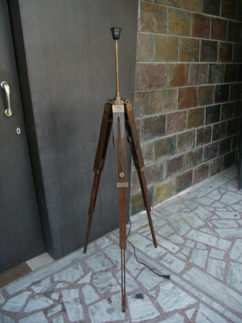 Antique Brassed Trident Robson Father and Child Floor Lamp