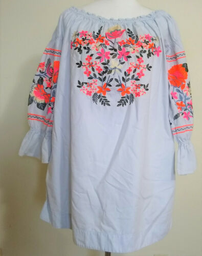 Free People Sz L Embroidered Boho Peasant Top Blou