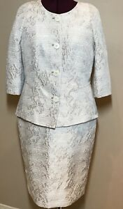 8 Ivory Womens Metallic Petite Suit Lafayette Tan 12 Formal Skirt Wedding 148 vptnR