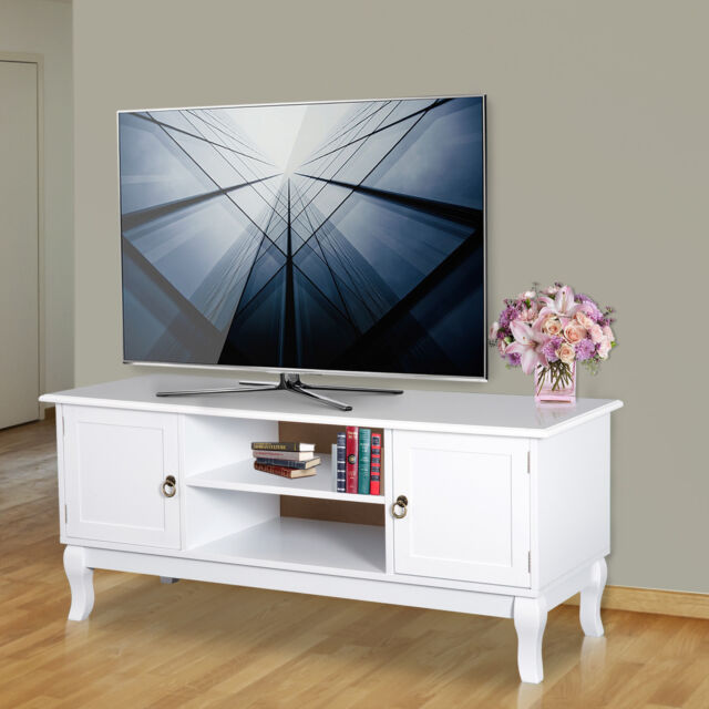 online store 7889f 5f094 Homcom TV Stand Unit Corner Table Modern Eco-friendly MDF Ivory White Home