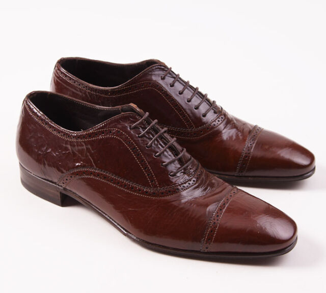 New $795 LIDFORT Brown Glazed Calf Leather Laceup Dress Shoes US 7.5 D (IT 6.5)
