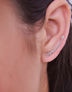 Details About Sterling Silver Arrow Earrings Ear Crawlers Climber Sweep Up Handmade Jewelry